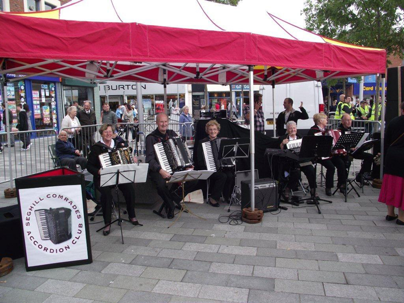 Seghill Accordion Club Playing at Blyth Market